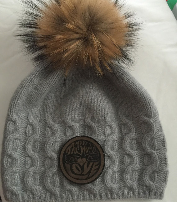 Hippy Spirit Cashmere Slouchy Beanie Hat with Fur Pom Pom