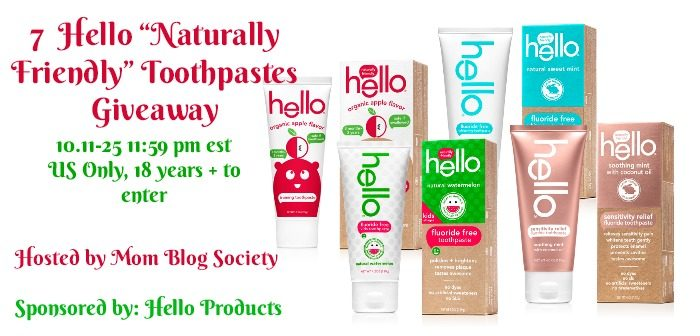 """7 Hello """"Naturally Friendly"""" Toothpaste Giveaway"""
